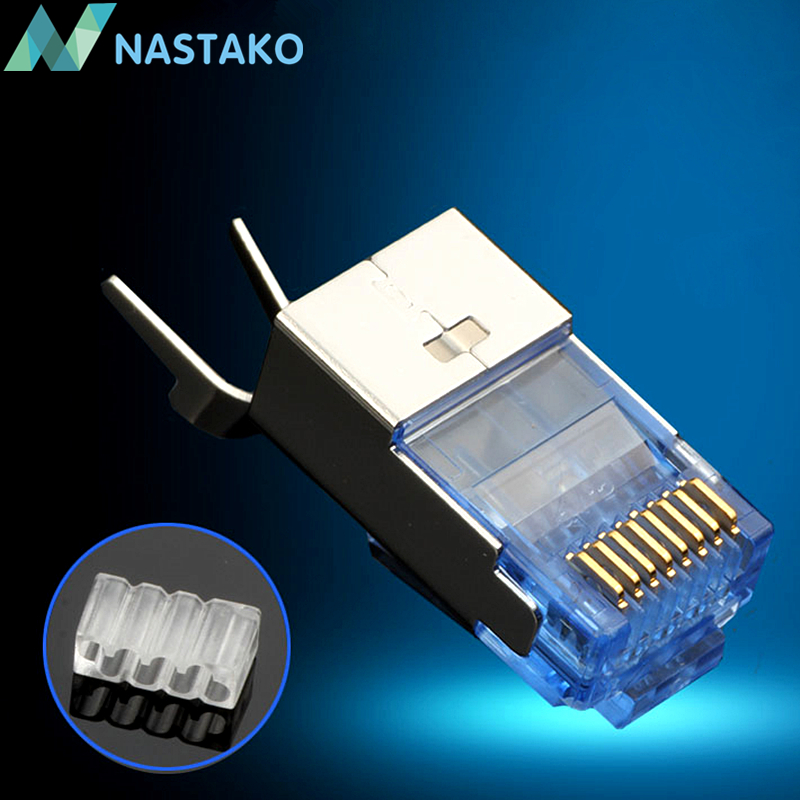 NASTAKO 10/50PCS Cat7 RJ45 Connector Cat 7 Crystal Plug Shielded FTP RJ45 Modular Connectors Cat7 Network Ethernet Cable 1.5MM