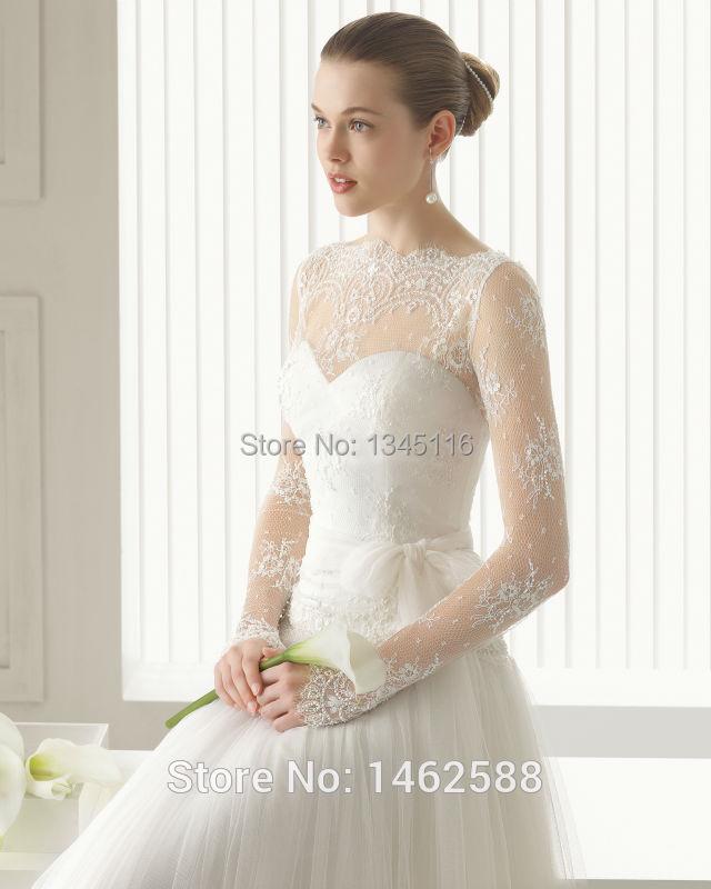 sheer manga larga de encaje de cuello alto vestido de novia de
