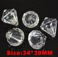 35pcs/lot 34*30MM fashion clear acrylic chunky bead pendant Imitation diamond shape transparent ball shapes