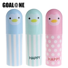 GOALONE Cute Cartoon Penguin Toothbrush Cup Portable Travel Holder Case Toothpaste Box Storage for Hiking