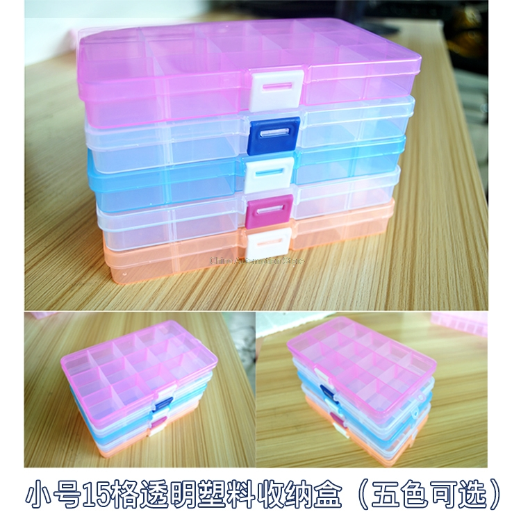 New 15 Slots Cells Colorful Portable Jewelry Tool Storage Box Container Ring Electronic Parts Screw Beads Organizer Plastic Case water resistant drop protection storage container organizer box for chips batteries gadgets