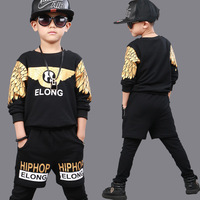 Wing Printed Boys Clothing Unisex Sets 3 Pieces Autumn Fashion Brand Sport Suit Sweatshirts & Harem Pants Hip Hop Clothing Kids