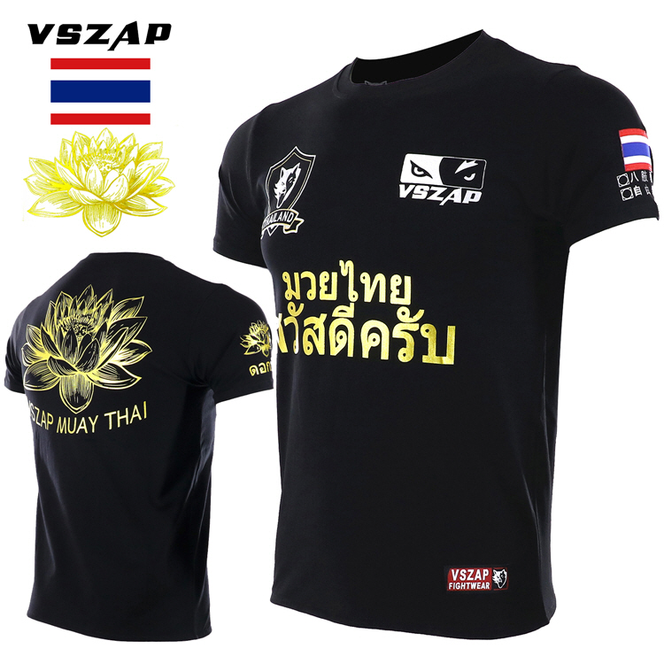 VSZAP Thai Lotus MMA Fighting Sanshou T Shirt Broadcast Wulinfeng Thailand Fight Fitness Tiger