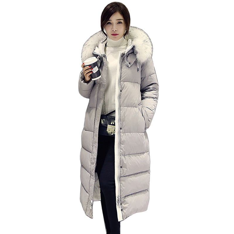 2018 New European Women's   Down   Jacket Female Thick Big Fur Collar Hoodie White   Down     Coat   Parka Winter Jacket Women High Quality