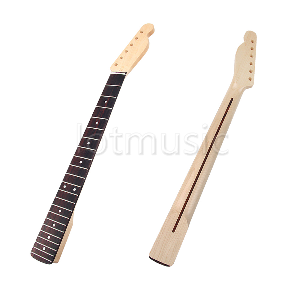 цены  Electric Guitar Neck Maple 22 Fret for Fender Tele Replacement Parts Rosewood Fingerboard White Dot Inlay