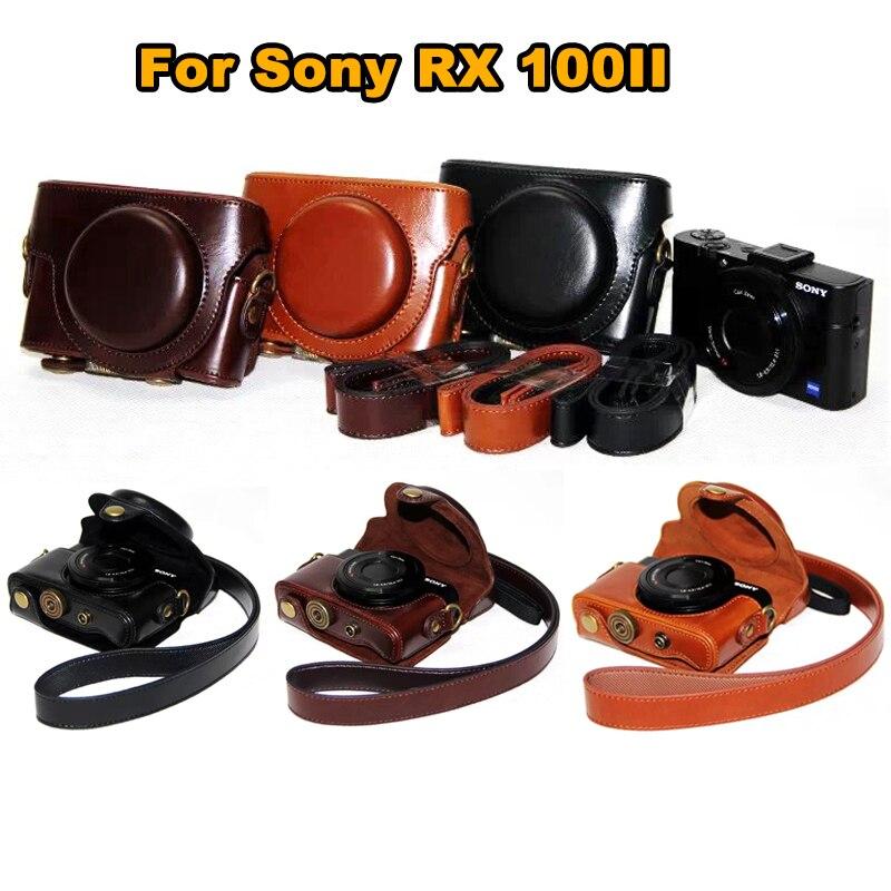 Bolsa de cuero de la cubierta de la cámara para Sony cyber-shot RX 100M3 RX100V M3 rx100ii DSC-RX100 m3 M5 rx100 iii RX 100 ii Cámara bolsa