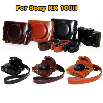 Leather Camera Case Cover Bag for Sony Cyber-shot RX 100M3 RX100V M3 rx100ii DSC-RX100 m3 M5 rx100 iii RX 100 ii camera bag image