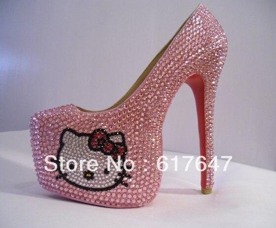 41860b02b Girls Beautiful Red Bottom Hello Kitty High Heels 16cm High Platform  Crystal Pink Pumps Free Shipping