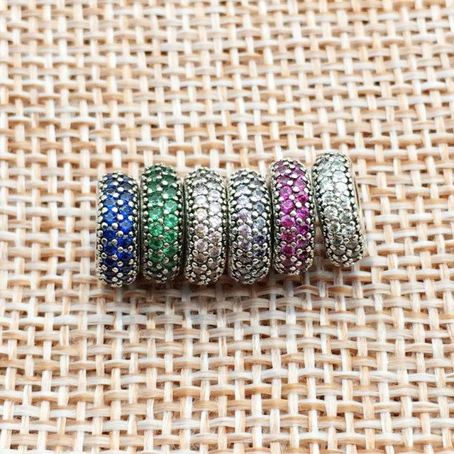 Fit Pandora Charms Original Bracelet Spacer Charm 925 Silver Bead Abstract Zircon Beads Jewelry Making 2016 Winter DIY Berloque