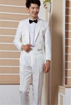 2018 Male formal White and Black wedding dress bridegroom tuxedo loading Custom made ( jacket+Pants+tie)