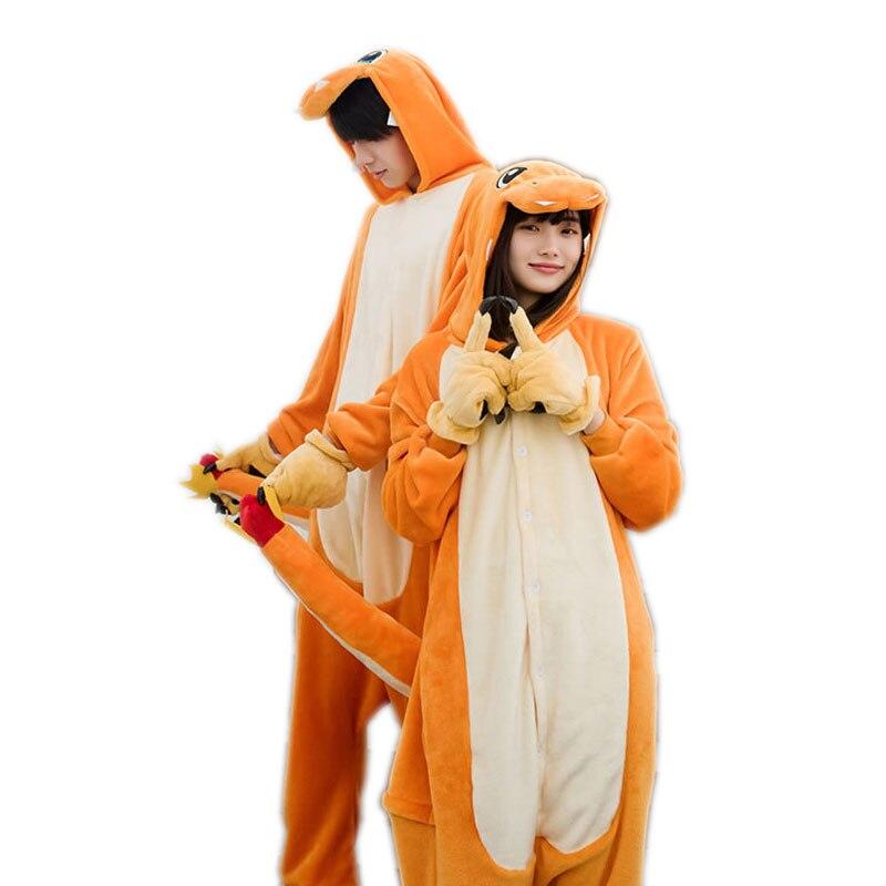 New Arrival Adult Onesie Charmander Pajama Set Flannel Hooded Sleepwear Animal Costume Unisex Cartoon Pyjama For Carnaval