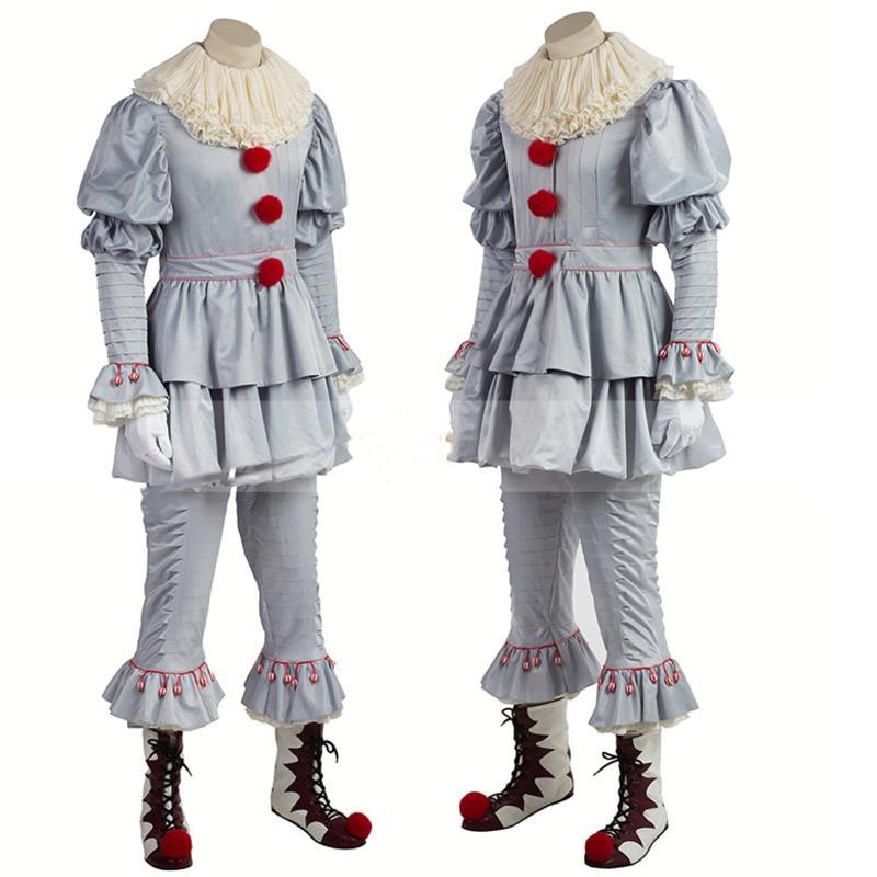 2017 Stephen Del Re Si Pennywise Cosplay Costume Adulto Unisex Donna Terrore Pagliaccio Di Halloween Costumi Per Gli Uomini Maschera Per Adulti
