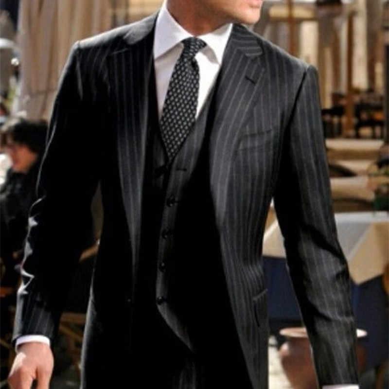 2020 イタリアデザインブラックストライプ男性は、高品質ビジネスメンズフォーマルパーティータキシード事務 ssuit (ジャケット + パンツ + ベスト)