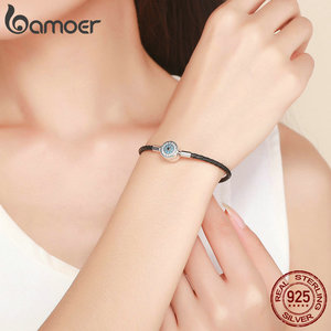 Image 5 - BAMOER Authentic 925 Sterling Silver Blue Eyes Leather Bracelets for Women Bracelets Bangles Sterling Silver Jewelry SCB113