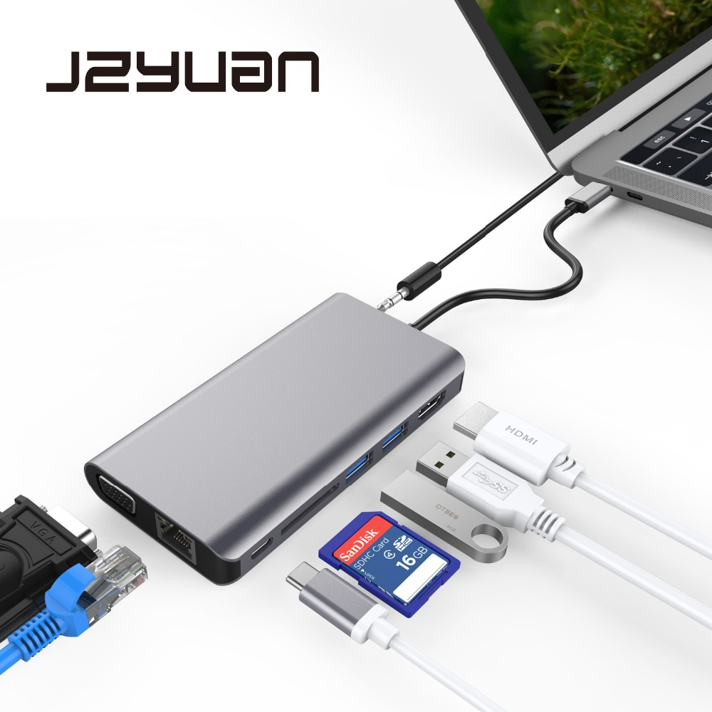 цена на JZYuan Laptop Docking Station USB C to HDMI 4K VGA 1080P RJ45 Ethernet USB 3.0 Dock With Type C PD For Macbook Pro Samsung S9/S8