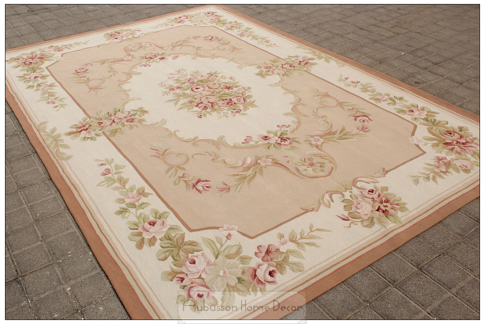 5 X8 Wool Hand Woven Shabby Chic French Style Aubusson