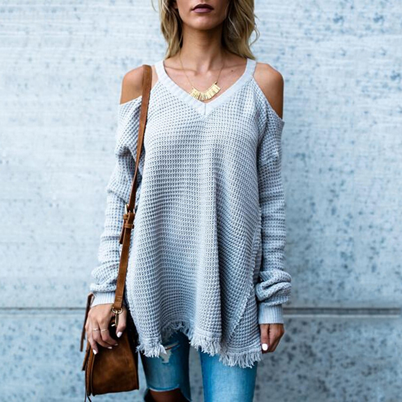 Hengsong Autumn Basic Women Sweater Sexy Women V-neck Off Shoulder Loose Knitted Pullover Sweaters Female Jumper streetwear