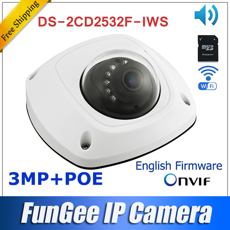 original DS 2CD2532F IWS wireless ip camera HD 3mp outdoor mini dome wifi camera SUPPORT POE