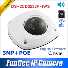original DS-2CD2532F-IWS wireless ip camera HD 3mp outdoor  mini dome  wifi camera SUPPORT POE  SD card audio DS-2CD2532F-IS