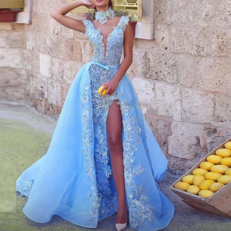 Lebanon   Evening     Dress   Blue Long abiye Gorgeous   Evening   Gowns robe soiree vestidos largos A Line Formal   Dresses   Choker Appliques