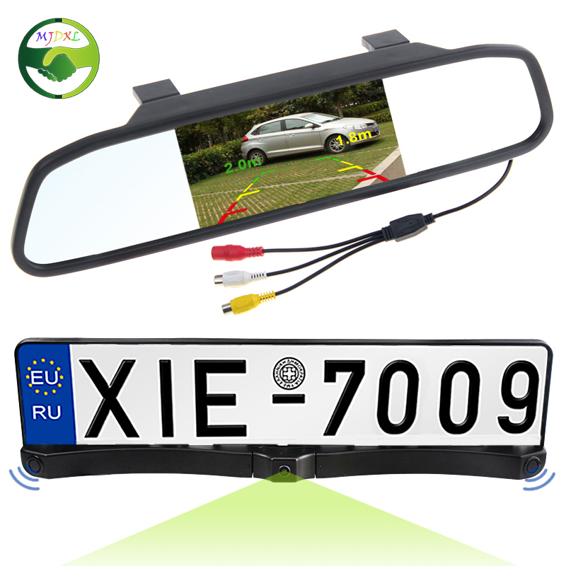 ФОТО 3in1 HD CCD European Russia License Plate Frame Car Rear View Camera With 2 Parking Sensor + 4.3