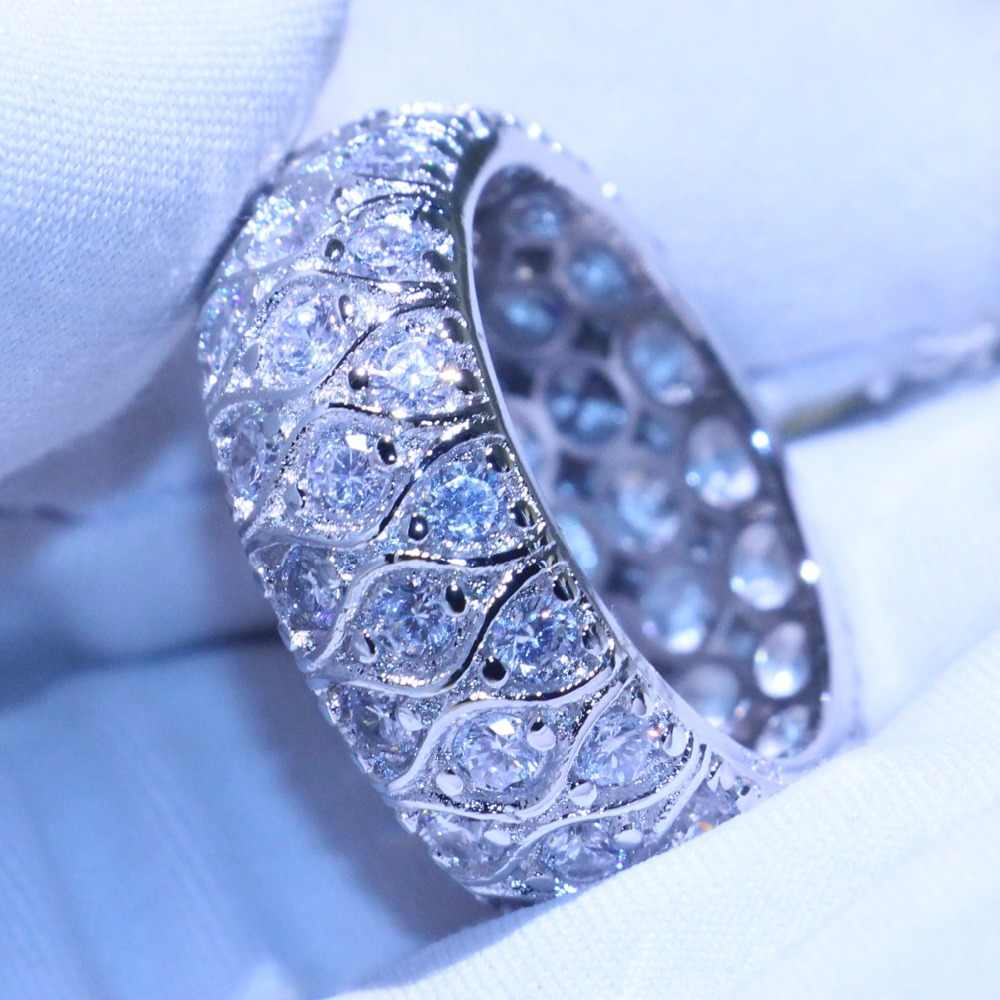 Moda do vintage jóias olhos de peixe anéis 925 prata esterlina preenchimento de alta qualidade pave 5a zircônia cúbica anel de casamento anel circe conjunto
