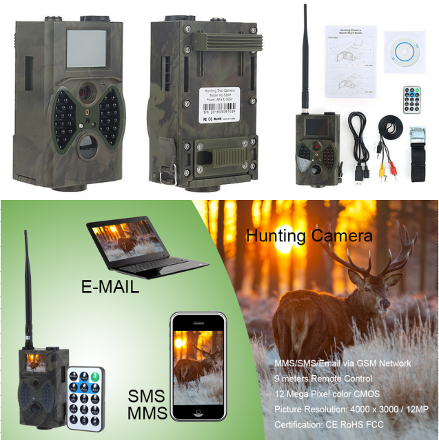 Wireless GPRS Hunting Camera 12MP Infrared Trail Huting Camera MMS GPRS GSM Digital Video Waterproof Camera Photo Traps HC300M