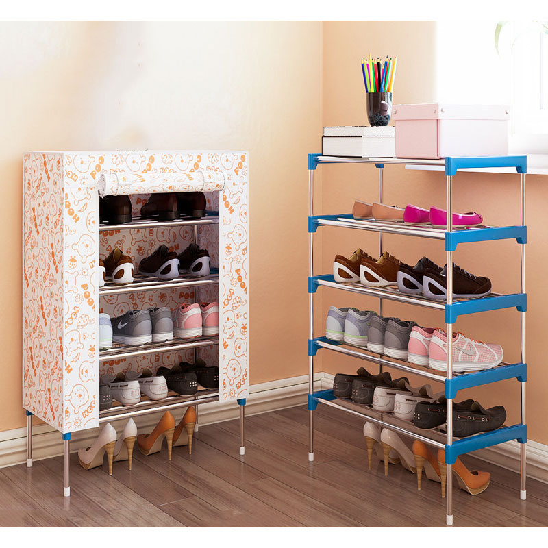 Fashion Minimalist Non-woven Home Shoes Organizer Shelf Modern Shoes Cabinet Shoes Closet 5 layers Multi-purpose Shoes Rack