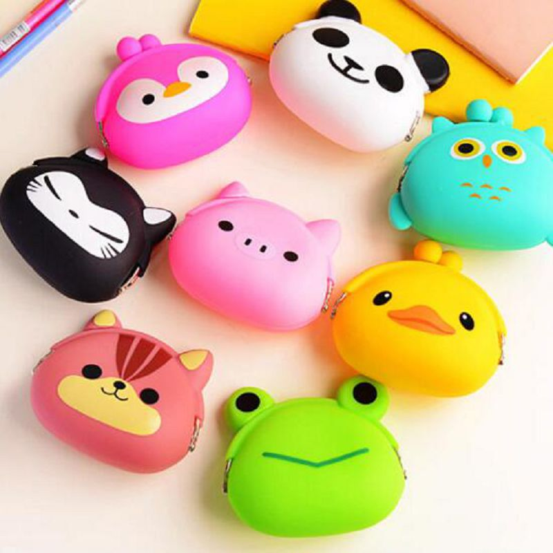 Hot Cute Cartoon Animal Wallets Rubber Purse Bag Silicone Round Coin Purse Wallet Card Rubber Key Phone Frog Design Bag Pouch
