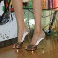 Свадебные туфли на Высоком каблуке женские свадебные туфли Цвета Шампанского Платье Невесты Обувь Блеск Выпускного Вечера Обувь