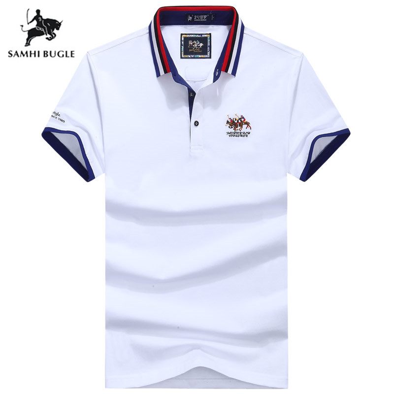 High Quality Tops&Tees   Polo   Shirt Men Business Brands   Polo   Homme 3D Embroidery Turn-down Collar   Polos   Para Hombre