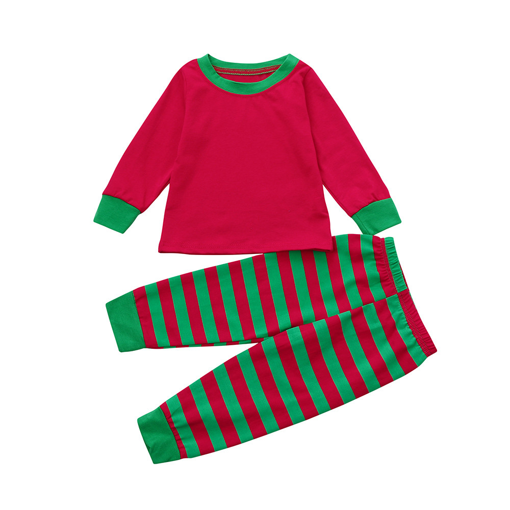 Todder Baby Boys Girls T-Shirt Tops +Pants 2PCS Stripe Home Pajamas Outfits Set OCT27