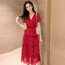 Cascading Ruffle Summer Dress 2019 Korean Chic Short Sleeve Bow Tie V-Neck Black Dress Women Casual Quality Elegant Vestido Midi bow tie neck ruffle sweater