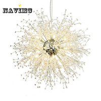 Modern Dandelion Crystal Chandeliers Lighting For Bedroom Kitchen Dining Room Pendant Hanging Lamp
