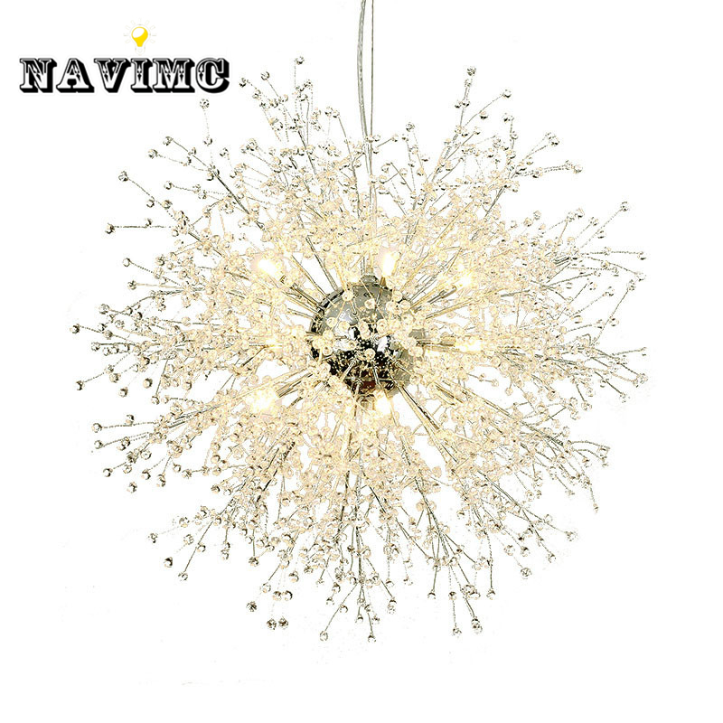 Modern Dandelion Crystal Chandeliers Lighting for Bedroom Kitchen Dining Room Pendant Hanging Lamp