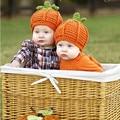 Handmade Crocheted Children Pumpkin hat Beanies Boy Girl Caps Halloween Funny Hats
