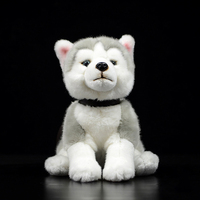 23cm Lifelike Sitting Siberian Husky Dog Plush Toys Realistic Stuffed Animal Toy Soft Puppy Plush Dolls For Kids