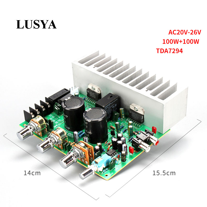 Lusya TDA7294 HIFI 2.0 Stereo Audio Power Amplifier Board 100w+100w RCA Tone Board for DIY speaker AC20-26V D2-003 atotalof 24 patterns rgb mini laser projector light dj disco party music laser stage lighting effect with led rgb xmas lights