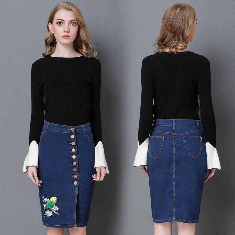 European Super Embroidered High Style Elastic blue Hip New Size black Blue Black Original Denim Women's 2018 UgqTxpw