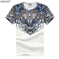 Newsosoo mens t shirts fashion 2017 Baroque Printed  t shirt men cotton 100%  men's short-sleeved tops Plus size  MT35