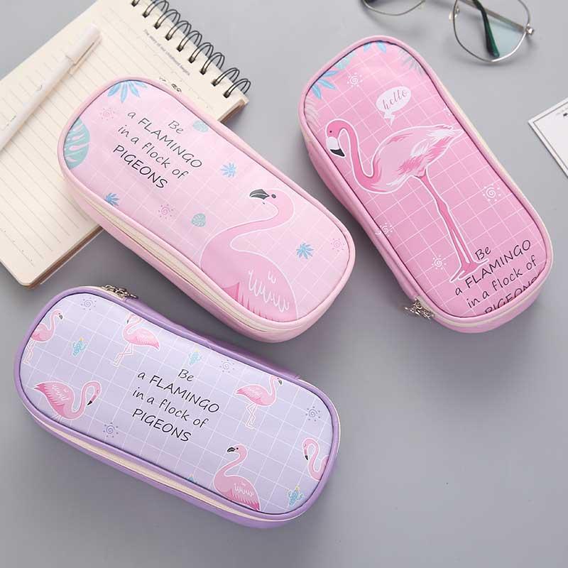 Kawaii School Flamingo Pencil Case for Girls School Supplies Korean Stationery Big Pencilcase Cute Flamingo Pencil Box Gift