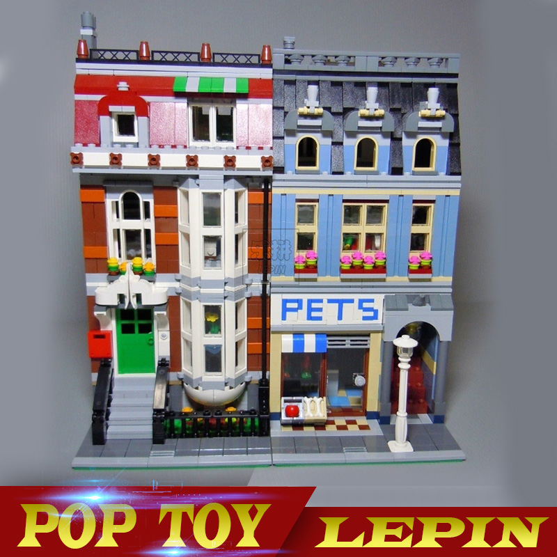 LEPIN 15009 2082pcs Pet Shop Supermarket Model City Street Building Blocks Compatible legoing 10218 Toys For Children Lovely Toy lepin 15009 city street pet shop model building kid blocks bricks assembling toys compatible 10218 educational toy funny gift