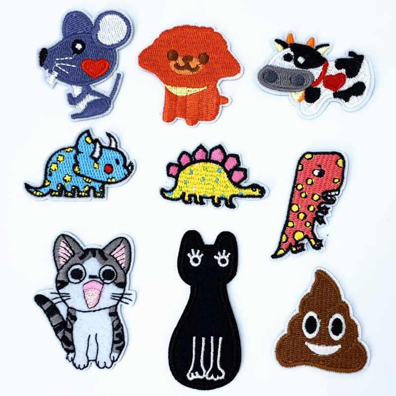 Parche de insignia de reparación de animales de dibujos animados parches bordados para ropa de hierro en zapatos de cierre bolsas insignias bordado DIY