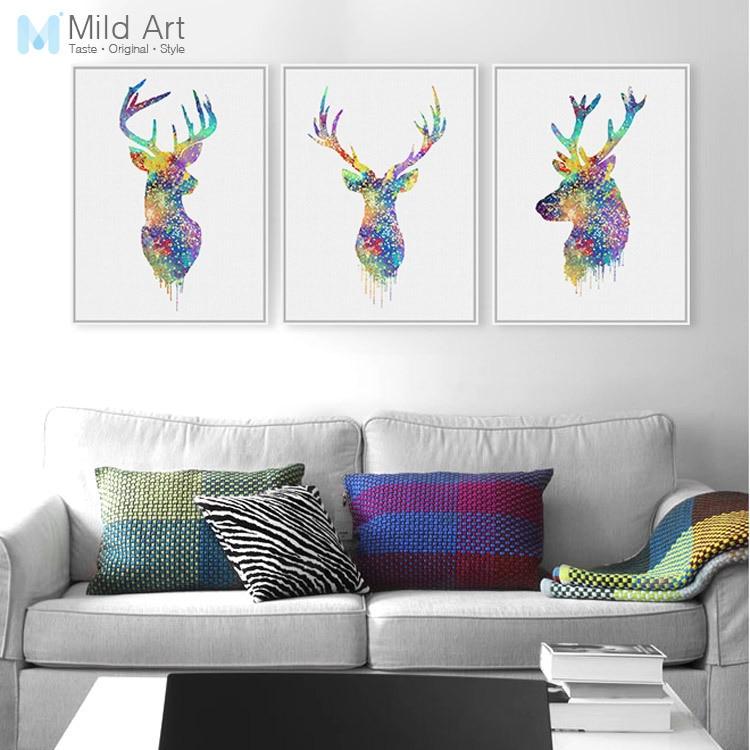 Triptych Acuarelă Rezumat Animal Deer Head Poster Print Stil de viață în stil nordic Camera de zi Wall Art Imagini Acasă Deco Canvas Painting