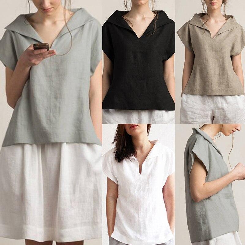 Celmia Women Vintage Linen Tops Plus Size Blouses 19 Summer V Neck Short Sleeve Shirts Casual Tunic Female Blusas Femininas 5