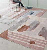 Ins французский шик Дания гостиная; зал ковры Геометрическая полоса прикроватный коврик белый Геометрия современный коврик дизайн скандина