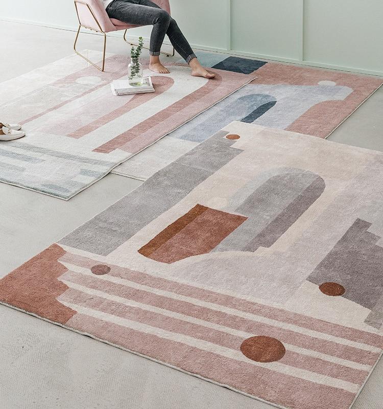 Ins français chic danemark salon salon tapis géométrique rayure chevet tapis blanc géométrie moderne tapis design style nordique