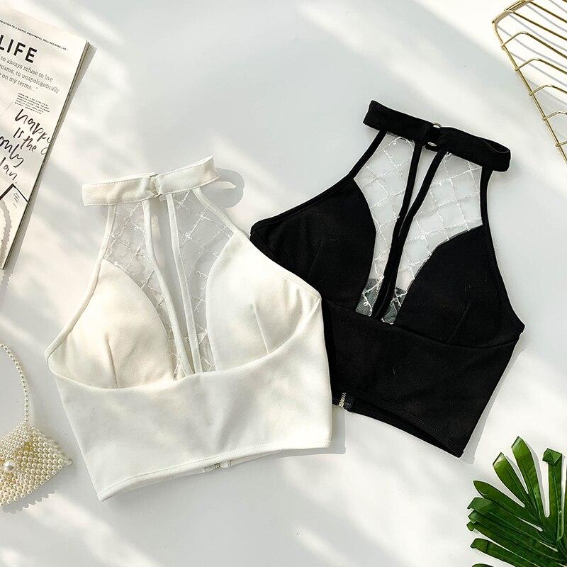 Sexy 2019 New Halter V-neck Padded Short Bustier Crop Tops Women Clothing Vest White Black Tops E938