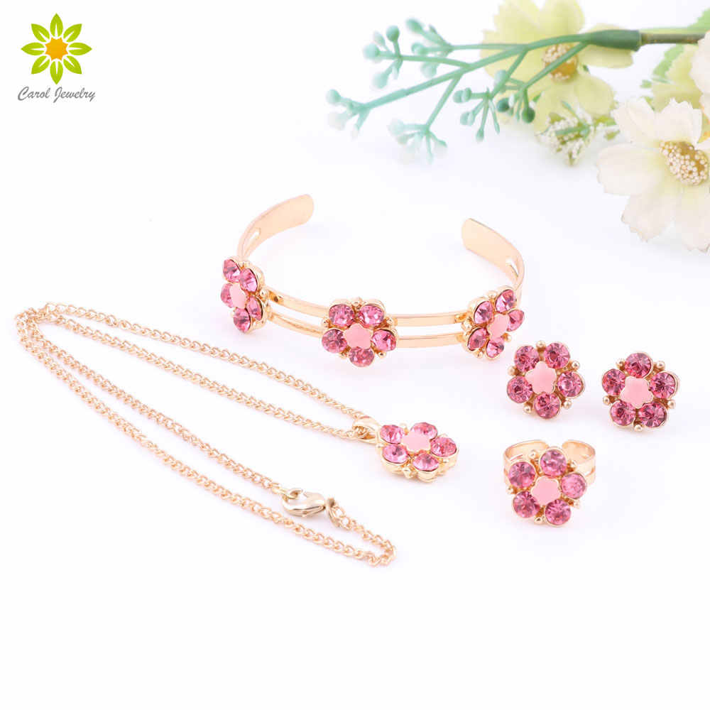 Best Gift  Gold Color Flower Pendant Necklace Earring Set /Children's Gift Jewelry For Kid Baby