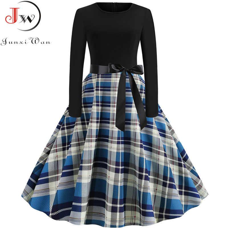 Новый 2019 осень-зима Для женщин платье с принтом, в клетку элегантное Повседневное Vintgae платье роковой женщины и черного цветов в стиле «пэчворк» платье трапециевидной формы вечерние платья